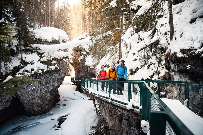 Winter hiking on the Johnston Canyon Icewalk near Canmore