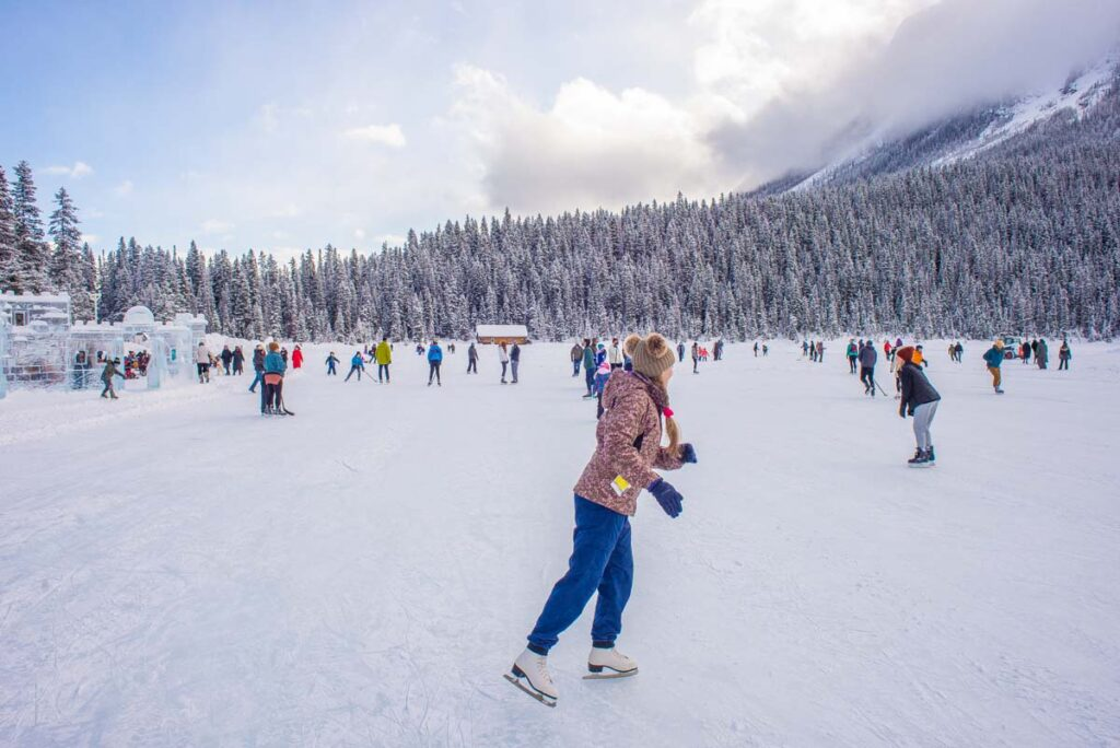 Outdoor ice skating at Lake Louise in the Canadian Rockies