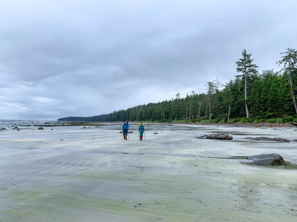 Hikers on Laura Creek Beach