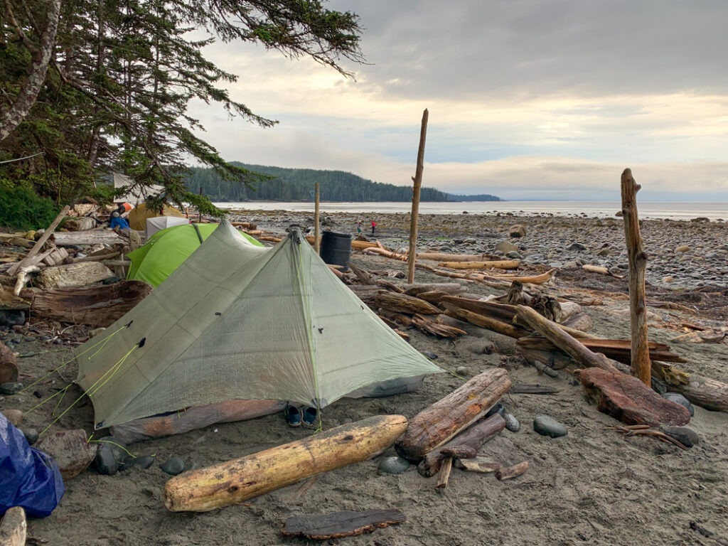 Tents at Laura Creek camp on the North Coast Trail