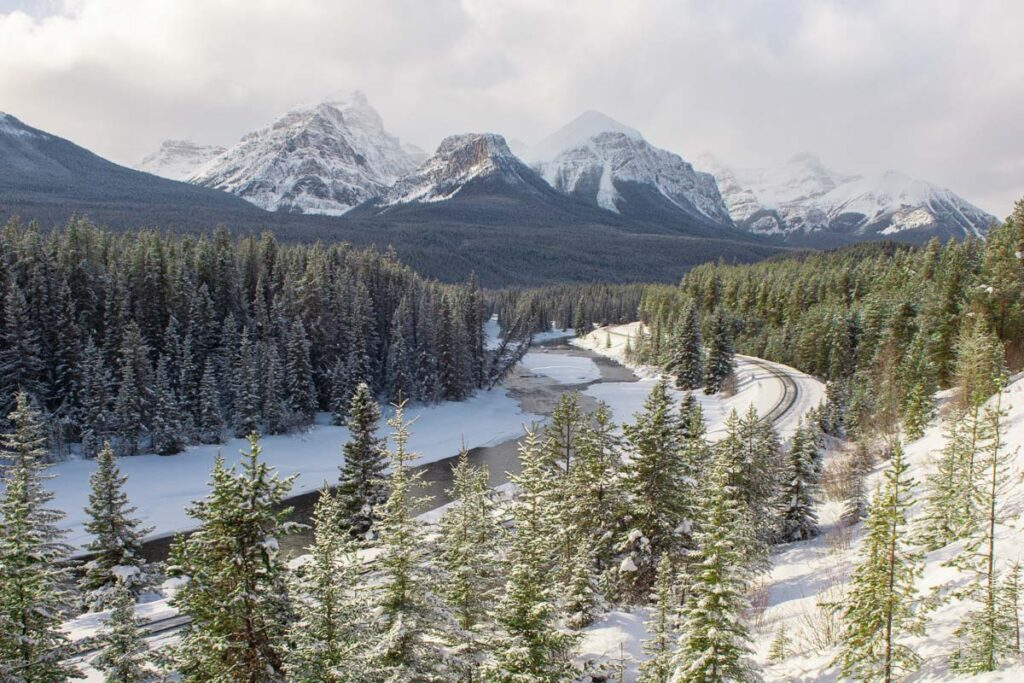 The view of Moran's Curve on the Bow Valley Parkway in winter