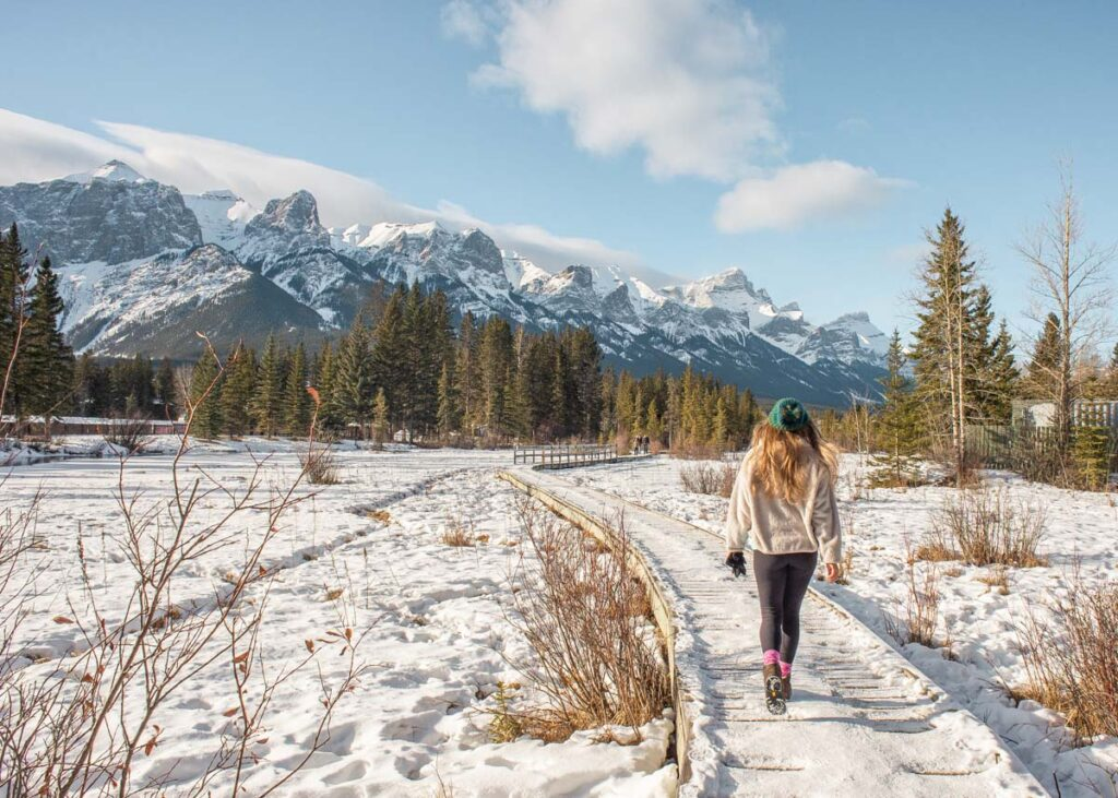 Walking along Policeman's Creek in Canmore in winter