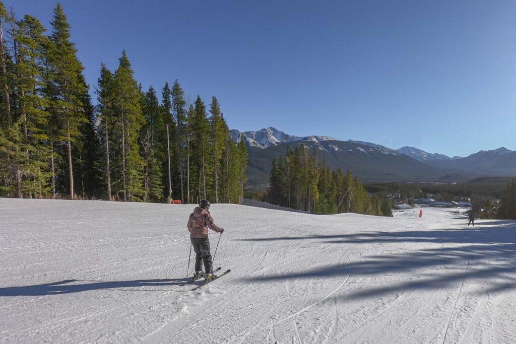 A skier on the slopes at Nakiska Ski area near Canmore