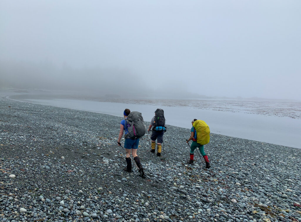 Hikers in the fog on the North Coast Trail